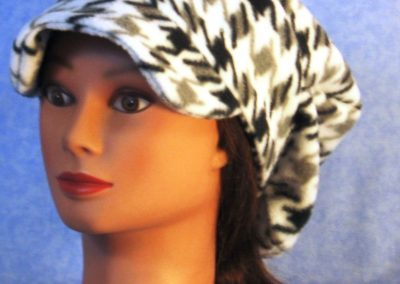 Newsboy Hat in Black White Hounds Tooth - left front