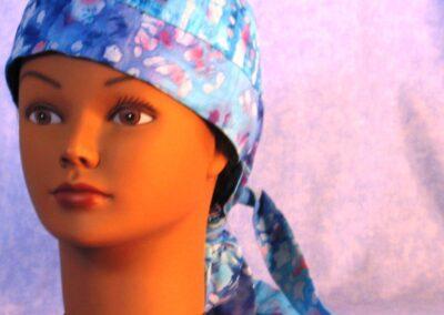 Hair Stocking in Aqua Lavender Flower Batik - left front