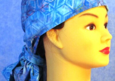 Hair Bag in Aqua Lavender Snowflake Batik - right front