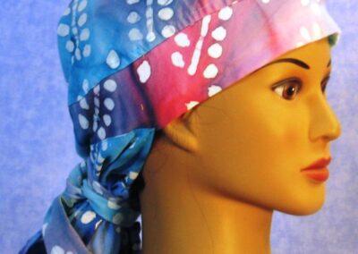 Hair Bag in Aqua Rose Branch Batik - right