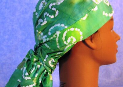 Hair Stocking in Green White Dot Batik - right back