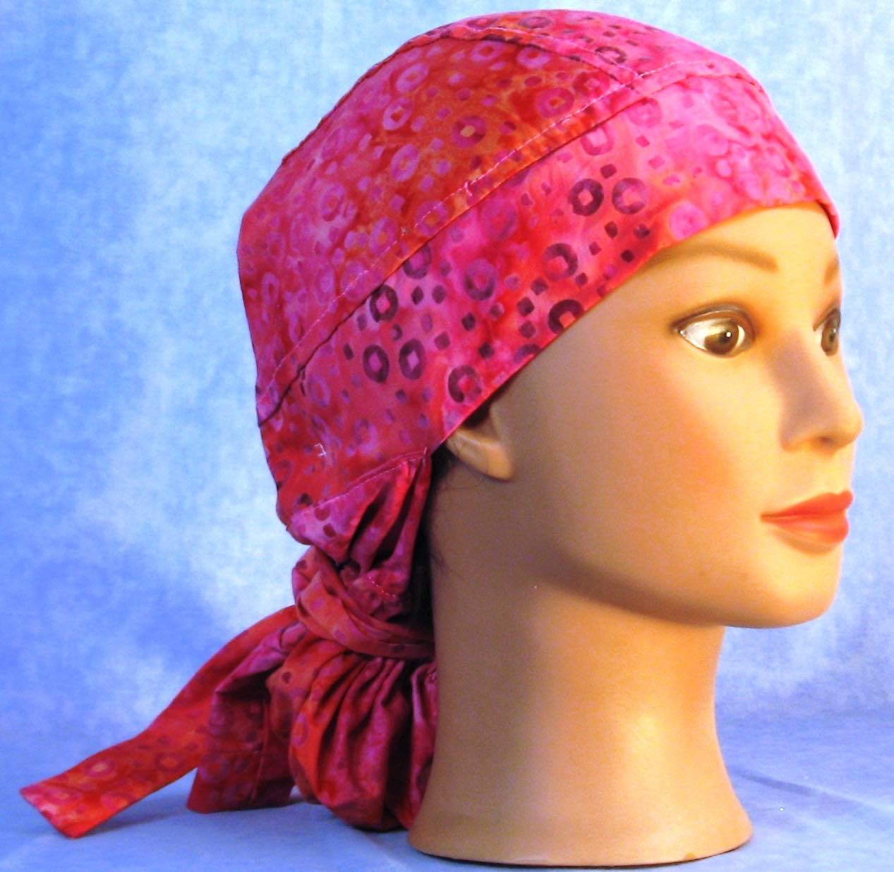 Hair Stocking in Pink Orange Circle Batik - right front