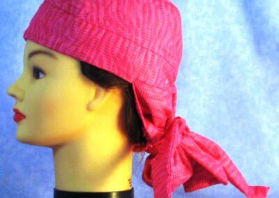 Hair Bag in Pink Seersucker - left
