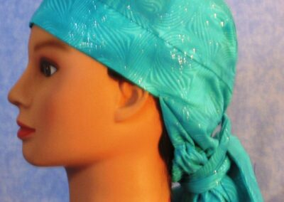 Hair Stocking in Teal Swirls with Glitter - left