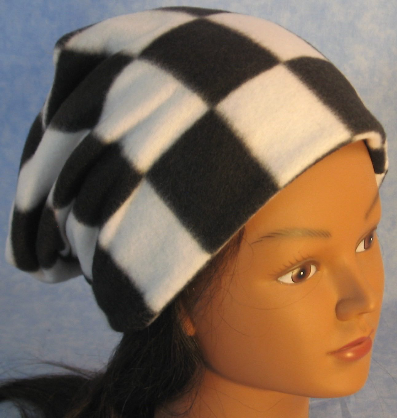 Long Hat in Black White Check-Adult S