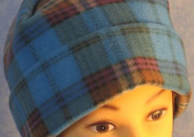 Long Hat in Blue Brown Plaid - rolled front top