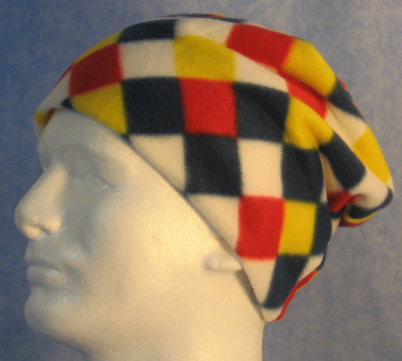 Long Hat in Blue Red Yellow Check-Youth S-M