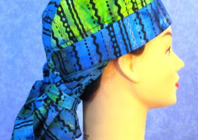 Hair Stocking in Blue Green with Black Gold Ethnic - right