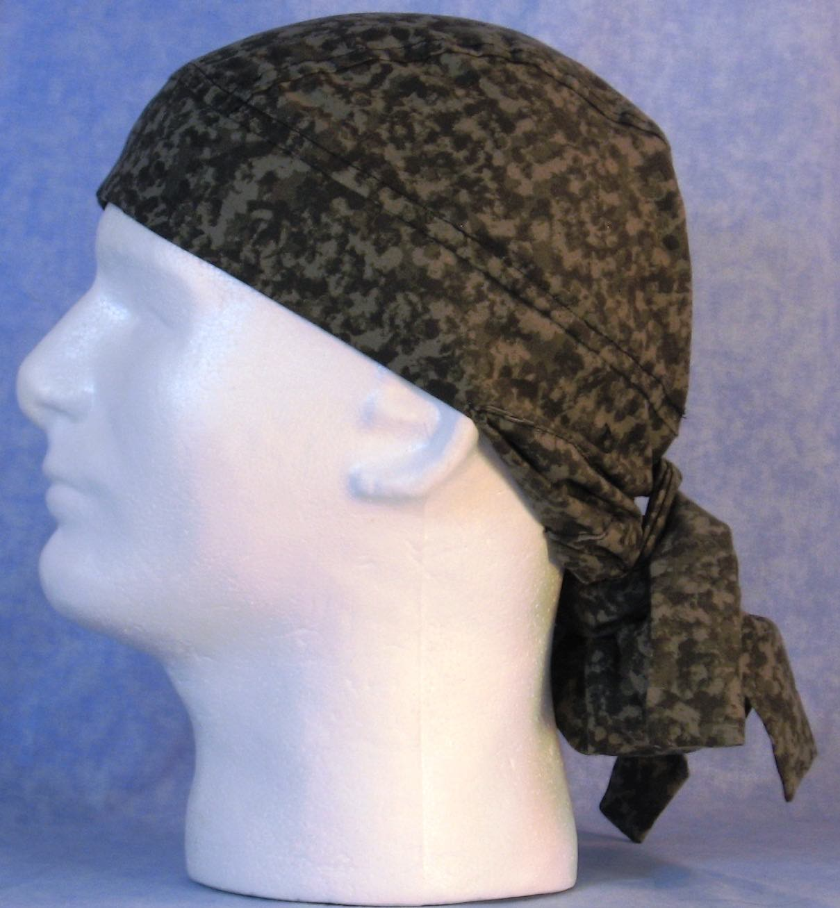 Hair Bag Do Rag in Gray Speckled Camo- Adult 1XL-3XL