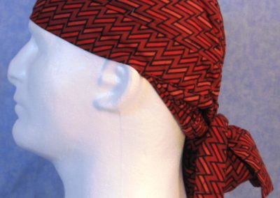 Hair Bag in Red Lined Zigzag - left