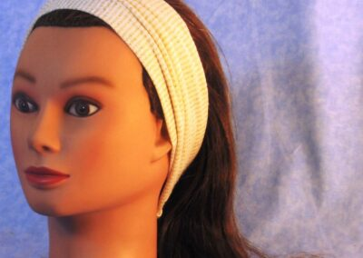 Headband in White with Gold Stripe Knit - front