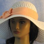 Floppy Hat Band in Orange Pink Stripe Homespun - front