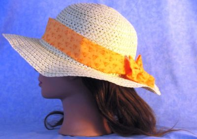 Floppy Hat Band in Orange Flower Dots - left