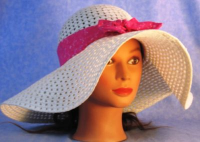 Floppy Hat Band in Pink White Flower Dots - right front