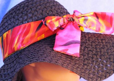 Floppy Hat Band in Red Pink Raindrops - right