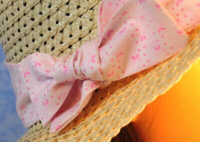Floppy Hat Band in White and Pink Dotted Stripe - closeup