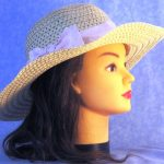 Floppy Hat Band in White and Pink Dotted Stripe - right