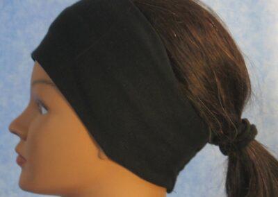Headband in Black Ribbed Knit - left