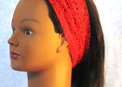 Headband in Red Mesh Net – left