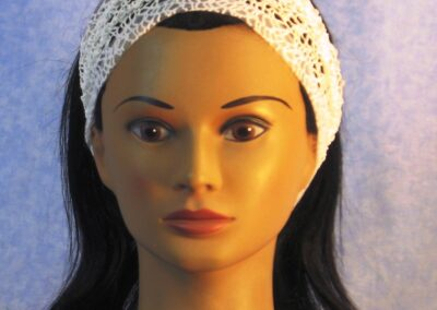 Headband in White Mesh Net – front