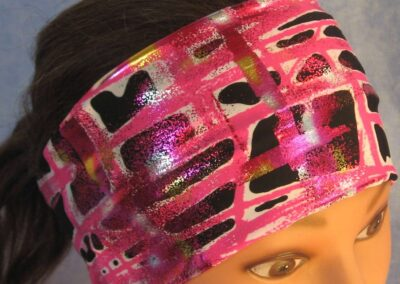 Headband in Pink Grid Sprayed Performance Knit - top