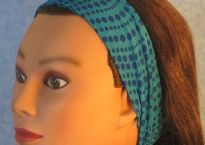 Headband in Teal Blue Dots Performance Knit - left 2