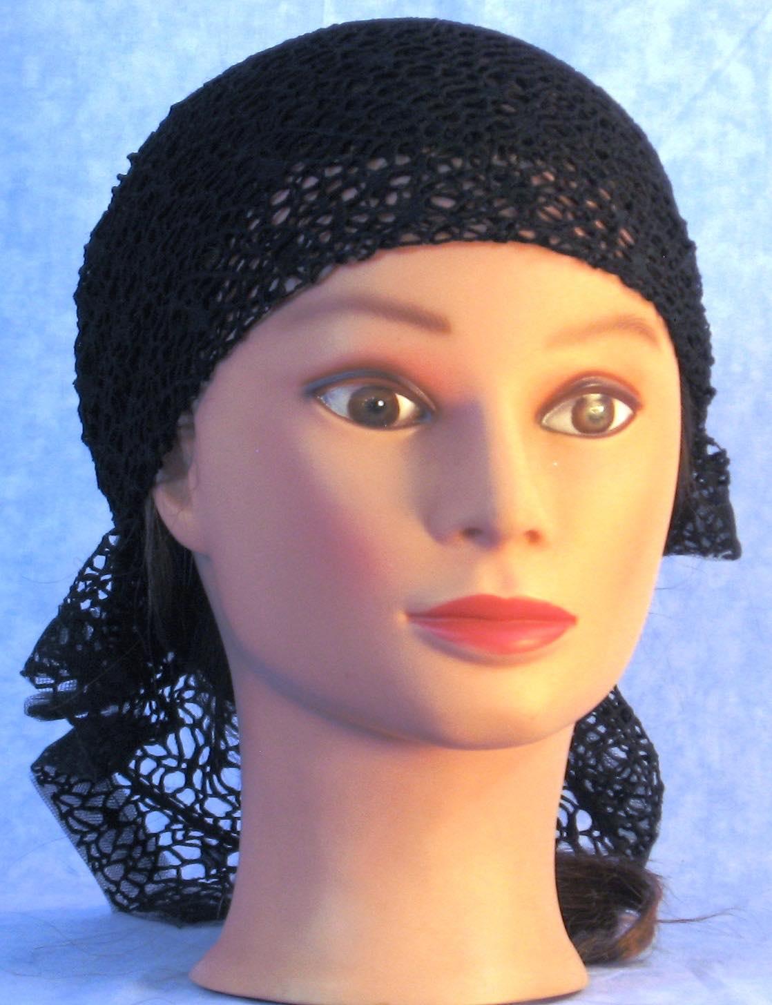 Head Wrap in Black Mesh Net-Regular