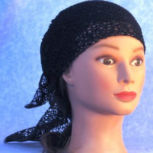Head Wrap in Black Mesh Net - right front