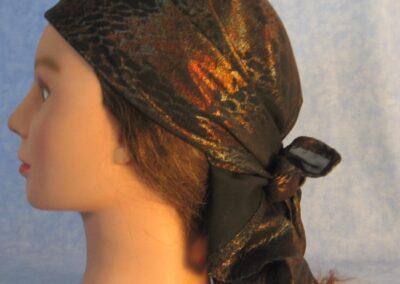 Head Wrap in Black Orange Foil Animal - left