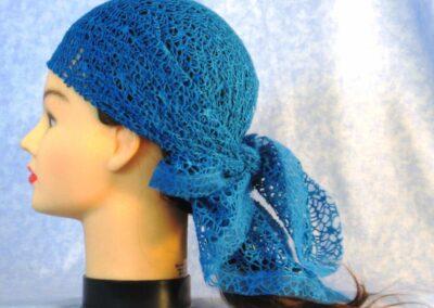 Head Wrap in Blue Mesh Net - left