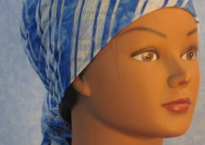 Head Wrap in Blue White Stripe Burnout - front right