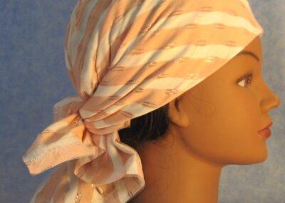 Head Wrap in Peach Cream Stripe - right