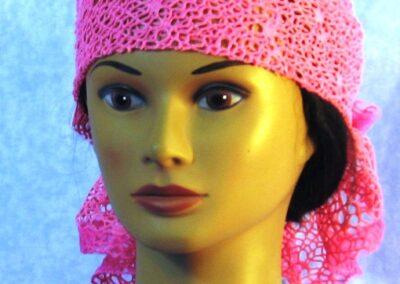 Head Wrap in Pink Mesh Net - left front