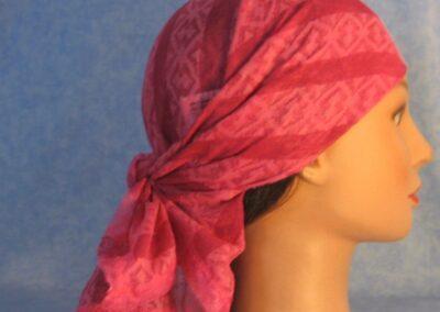 Head Wrap in Pink Stripe Burnout - left