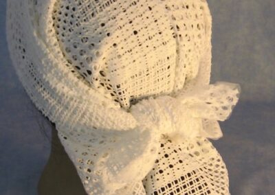 Head Wrap in White Granny Squares - top back