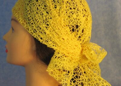 Head Wrap in Yellow Mesh Net - left