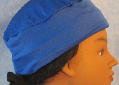 Skull Cap in Blue Swim Knit in Wicking Style - right