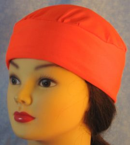Skull Cap in Fluorescent Orange Nylon Knit in Wicking Style - front