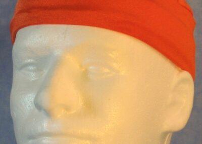 Skull Cap in Orange Swim Knit in Wicking Style - front guy