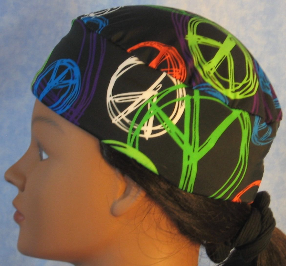 Skull Cap in Lime Peace on Black Performance Knit in Wicking Style - left