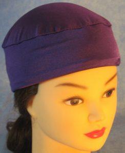 Skull Cap in Purple Swim Knit in Wicking Style - front top