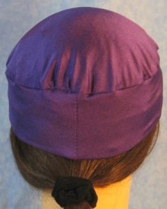 Skull Cap in Purple Swim Knit in Wicking Style - back