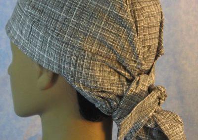 Hair Bag in Black White Crosshatch - back