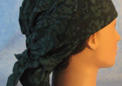Hair Stocking in Dark Green Bones Batik - right