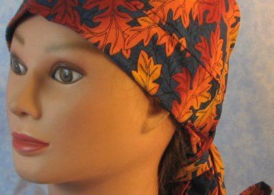 Hair Bag in Orange Oak Leaves on Navy - front