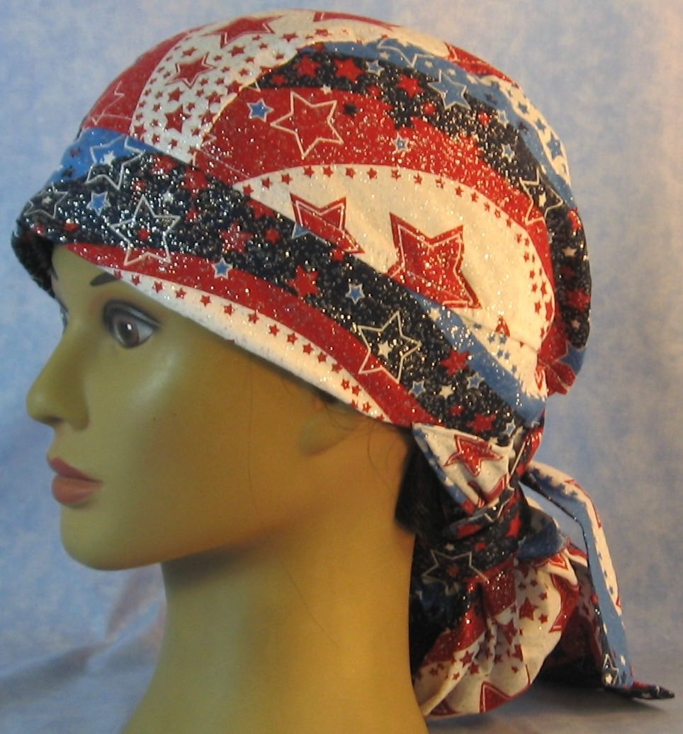 Hair Stocking Do Rag in Red White Blue Wave Stars - Adult 1XL-3XL