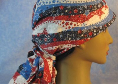 Hair Stocking in Red White Blue Wave Stars - right
