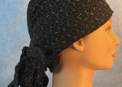 Hair Bag Do Rag in Red Gray Zs on Black - right