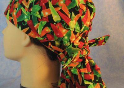 Hair Bag in Red Green Orange Pepper - back