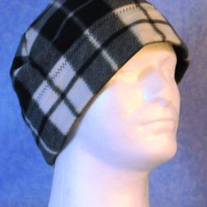 Band Cap in Black White Gray Plaid - right